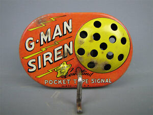 g man siren pocket type signal tin wind toy walt
