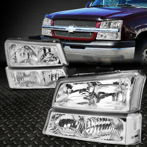 FOR 2003-2006 CHEVY SILVERADO CHROME HOUSING CLEAR SIDE HEADLIGHTLAMP SET 4PCS