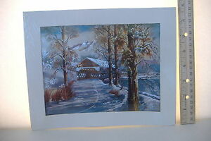 ~COVERED BRIDGE IN WINTER~FOIL  PRINT~10
