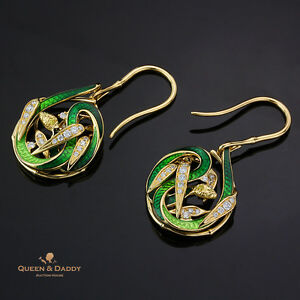 The Lure of Garden of Eden - 18K(750) Yellow Gold Diamond Enamel Design Earrings