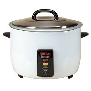 Aroma 60 Cup Commercial Electric Rice Cooker ARC-1033E White Durable body New