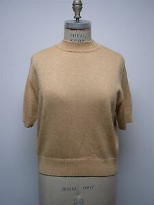 ST. JOHN BASICS GOLD LUREX KNIT MOCK NECK TURTLENECK SHORT SLEEVE SHIRT TOP SZ M