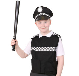 POLICE VEST HAT CHILD FANCY DRESS PC COP SWAT SERGEANT PANDA KIDS BOYS GIRLS GBP 8.99