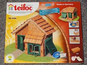Teifoc Tile Roof House Construction Set Real Brick & Mortar Building Kit Toy
