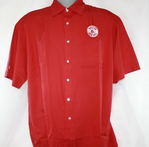 NEW Mens Antigua MLB Boston Red Sox Short Sleeve Button Down Casual Style Shirt