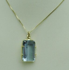FABULOUS!! 14K YELLOW GOLD BLUE TOPAZ PENDANT NECKLACE 20 INCH BOX CHAIN 288-M