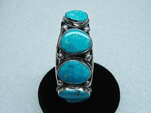 NEW AWESOME NAVAJO STERLING SILVER TURQUOISE CUFF BRACELET BETTA LEE N369-G