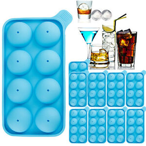 10x Round Silicon Ice Cube Balls Maker Tray 8 Large Sphere Molds Whiskey Bar New