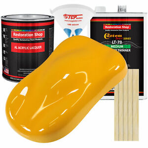 CITRUS YELLOW Gallon Kit Single Stage ACRYLIC LACQUER Car Auto Body Paint Kit