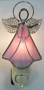 Angel Pink Stained Glass Night Light
