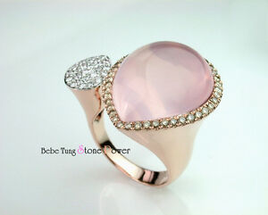 Q&D [La Pink] - 18K(750) Rose Gold cab cut Rose-quartz Diamond Design Ring