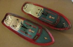 2 tin litho wind up speed boats parts repair