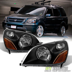 For Blk 2003 2005 Honda Pilot Replacement Headlights Headlamps 03 05 LeftRight