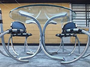 Medusa table and 4 chairs Studio Tetrarch design by Bazzani Italy '69 rare set