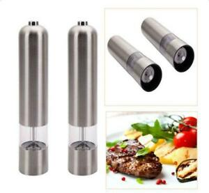 2 PCS Kitchen Stainless Steel Electric Salt Pepper Spice Mill Grinder Muller New