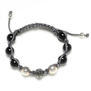925 Silver Pave Diamond Gemstone Beaded Shamballa Bracelet Women Jewelry