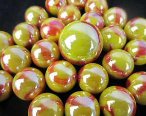 25 Glass Marbles SUN Fire RED YELLOW Opal iridescent Shooter game style Swirl