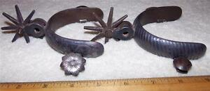 Antique Old West Cowboy Kids Ladies Spurs 8 Point Engraved Silver Old Patina