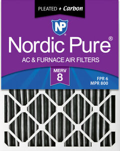 Nordic Pure 16x25x4 (3 58) Pleated Plus Carbon Air Filters MERV 8 1 Pack