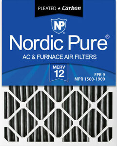 Nordic Pure 16x25x4 (3 58) Pleated Air Filter MERV 12 Pleated + Carbon 1 Pack