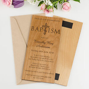 Engraved DL Engraved Wooden Christening Invitations Baby Baptism Naming Day