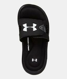 Boy's Youth UNDER ARMOUR IGNITE 1252568 Black 4-D FOAM Slides Sandals Shoes NEW