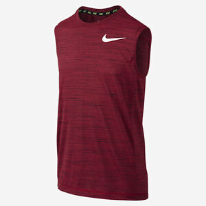 NIKE Boy's Dri-FIT Cool Sleeveless Training Shirt *GYM REDBLACKWHITE - M* NWT