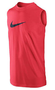 NIKE Boy's Dri-FIT Legend Sleeveless T-Shirt ** RED BRIGHTBLACK - Large ** NWT