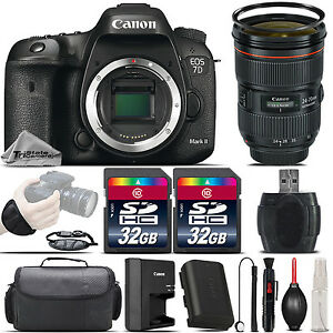 Canon EOS 7D Mark II DSLR Camera + Canon EF 24-70 f 2.8L II USM Lens - 64GB Kit