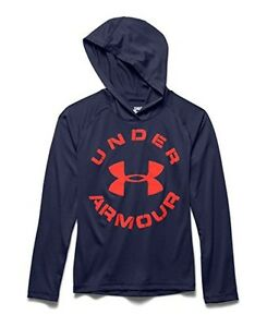 UNDER ARMOUR Boy's UA Tech Hoodie ** BLUE KNIGHT ORANGE Small ** NWT $17.95