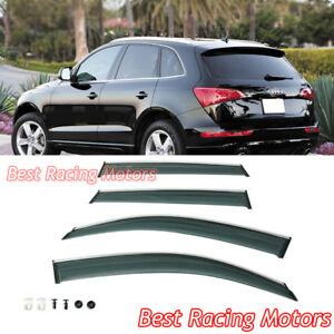 Euro Style Side Window Visors + Chrome Molding Trims + Clips Fits 09-16 Audi Q5