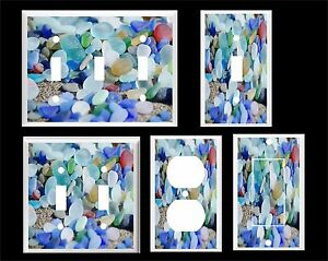 BEACH GLASS SEA GLASS  #10 COLORFUL LIGHT SWITCH COVER PLATE  U PICK PLATE SIZE