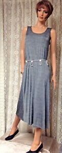 JOSTAR Grey LONG TANK DRESS Stretch Poly Spandex Knit TRAVEL WEAR S M L XL 2X 3X