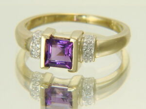 10K Yellow Gold Square Cut Natural Amethyst & Diamond Ring Size 7