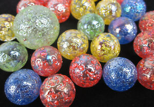 25 Glass Marbles STAR DUST Speckled Glitterbomb red green yellow blue Shooter