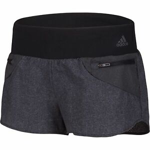 New Women's Adidas Viz Zip Pocket Knit Woven Shorts Running Crossfit Gym Black