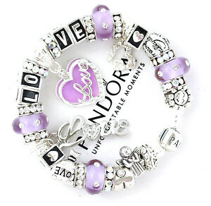 Authentic Pandora Silver Bracelet Purple LOVE Angel Wife Mom European Charm New