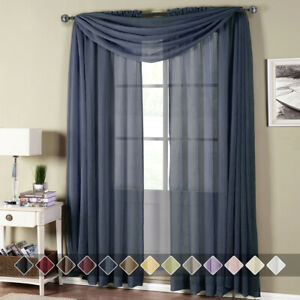 1 PC Modern Solid Abri Rod Pocket Crushed Sheer Single Curtain Panel - 5 Sizes
