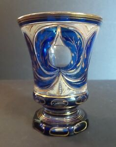 ANTIQUE BOHEMIAN CZECH CASED OVERLAY 2 -LAYER GLASS BEAKER  TUMBLER COBALT