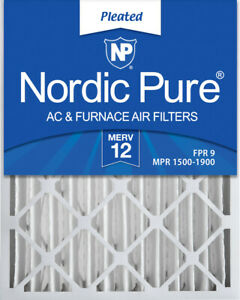 Nordic Pure 20x25x4 (3 58) Pleated MERV 12 Air Filters 2 Pack