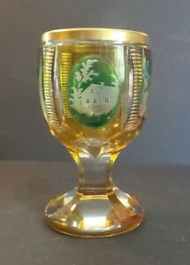 ANTIQUE BOHEMIAN CZECH CASED OVERLAY 2 -LAYER GLASS ENAMELED BEAKER  TUMBLER