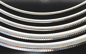 Sterling Silver 925 Omega Chain Necklace High Polished 16