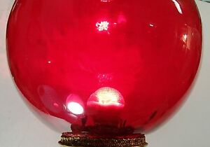 GWTW Banquet Ruby Red Pin Optic Glass Ball Shade GlobeVictorian Oil Kero 9quot; $72.50