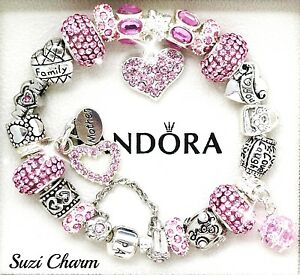Authentic Pandora Silver Bracelet MOM Pink Heart Family European Charms New Gift