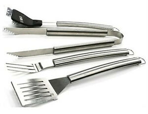 BBQ Tool Set 4 Piece Stainless Steel Barbecue Utensils Grill Care