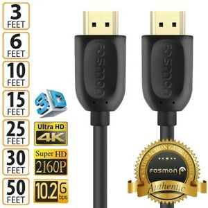 HDMI 3 6 10 15 25 30 50 FT 1.4 4K 3D HDTV PC Xbox ONE PS4 High Speed Cable Plug