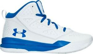 Boys' Grade School Under Armour Jet Mid Basketball WhiteTeam Royal 1274067 102