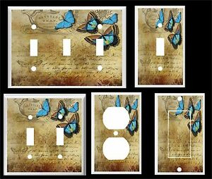 BLUE BUTTERFLY ON VINTAGE PAPER  LIGHT SWITCH COVER PLATE