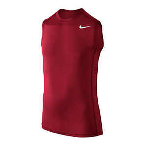 NIKE Boy's Base Layer Dri-FIT Muscle Tee T-Shirt ** GYM REDWHITE - S