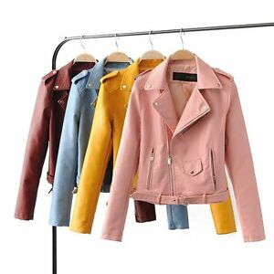 Girl Ladies Fashion Women's Autumn Winter PU Leather Biker Jacket Coat Clothes